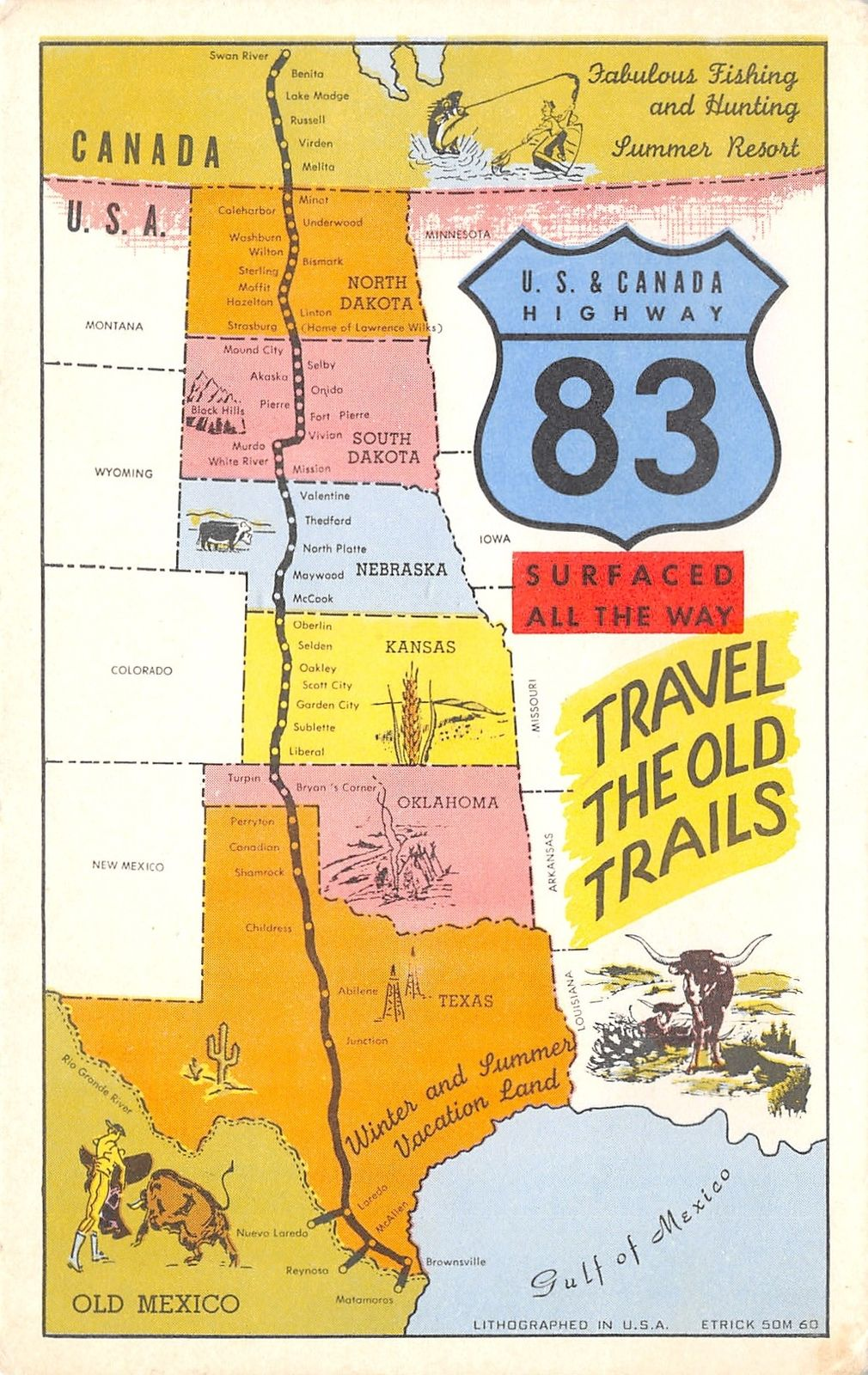 US & Canada Highway 83 Map Postcard~Travel Old Cattle Trail ... Cattle Trail Map on cattle trail history, cattle trail jobs, cattle drive maps, cattle trail clip art, cattle trail names,