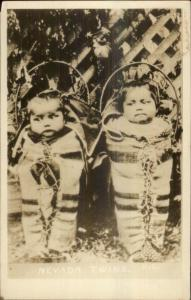 Native American Indian Babies Papooses NEVADA TWINS c1950s-60s RPPC