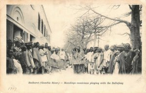 Gambia Banjul Bathurst Mandingo musicians playing the Ballafong postcard