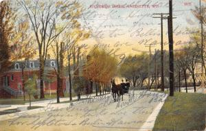Marinette Wisconsin~Horse Carriage on Riverside Drive~Thru Truss Bridge~1908 PC