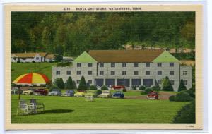 Hotel Greystone Gatlinburg Tennessee linen postcard