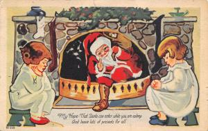 ART DECO Christmas~Sleeping Children Wait by Fireplace~Santa Comes Thru Grate~PC