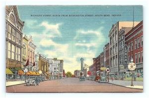 Postcard IN South Bend Michigan Street North From Washington Street Linen G04