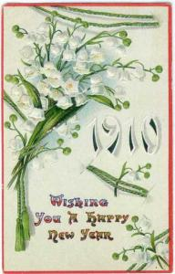 D/B WishingYou a Happy New Year with 1910 & Flowers on Card