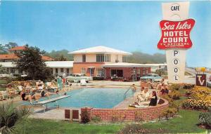 Gulfport Mississippi~Sea Isles Hotel Court~People along Swimming Pool~50s Cars