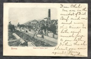 4923 - British BURMA 1905 Lumber Yard. Elephants. Posted to USA