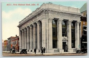 Joliet Illinois~First National Bank~Livery~National Biscuits~Vintage Cars~c1910