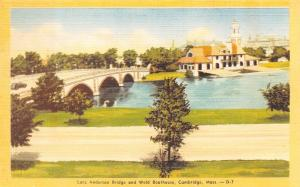 Cambridge Massachusetts~Larz Anderson Bridge to Weld Boathouse 1940s Postcard