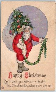 SANTA CLAUS Postcard Happy Christmas Xmas Tree Doll Garland w/ 1922 XMAS SEAL