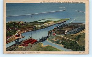 Postcard OH Conneaut Airview Conneaut Harbor on Lake Erie Vintage Linen I9