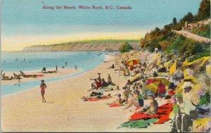 White Rock BC Along the Beach Unused Linen Postcard G30