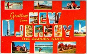 Vintage NEW JERSEY Large Letter Postcard The Garden State Dexter CHROME c1950s