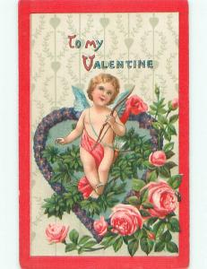 Pre-Linen valentine CUPID SITS ON HEART MADE OF FORGET-ME-NOT FLOWERS k9916