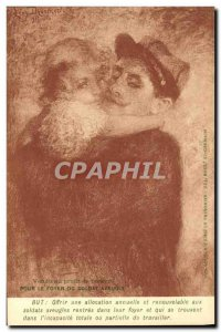 Postcard Old Army Soldier Child Hairy