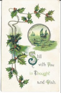 Green Sailboats on Green Sea with Holly leaves and Holy Berries Vintage Postcard