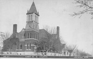 Osceola Nebraska~First Methodist Episcopal Church~Homes on Street~c1915 RPPC