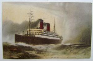 VINTAGE BRITISH POSTCARD R.M.S. CARMANIA CUNARD LINE SHIP