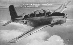 US Air Force Plane~USAF T-34A Trainer~Beech Aircraft~1950s B&W Arcade Card #53