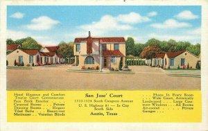 Austin Texas San Jose California roadside Kropp 1940s postcard 20-3063