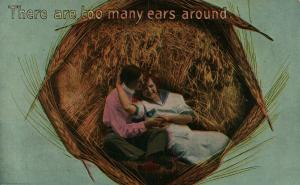 TOO MANY EARS AROUND ROMANTIC 1916 ANTIQUE POSTCARD montage collage CORK CANCEL