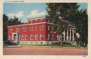 Y.M.C.A. Augusta, Maine Vintage Ford Car Red Brick Building Linen Postcard