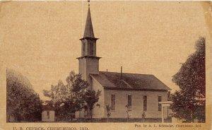 F57/ Churubusco Indiana Postcard c1910 U.B. Church Building