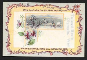 VICTORIAN TRADE CARD White Sewing & Bicycle Co Flowers & Snow Scene