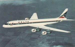 DELTA Douglas DC-8 Fanjet Airplane in flight, 1970s