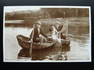 Wales Carmarthen THE CORACLE FISHER MEN c1950s RP Postcard