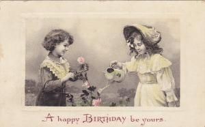 Child couple birthday Greetings , PU-1909 Water can