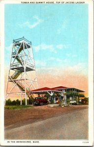 Tower and Summit House, Top of Jacob's Ladder Berkshires MA Vintage Postcard T14