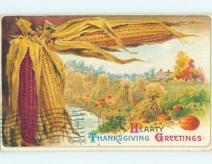 Pre-Linen thanksgiving signed EARS OF CORN & HAYSTACKS & PUMPKINS ON FARM HQ7512