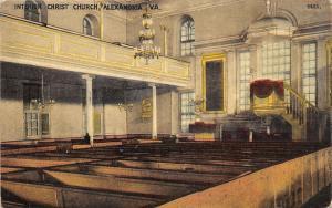 Alexandria Virginia~Christ Church Sanctuary~Fancy Chandeliers~Wooden Pews~c1910