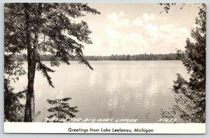 Lake Leelanau Michigan~Fish: Where the Big Ones Linger~1940s RPPC