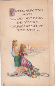 Prosperity and Good Cheer be yours throughout the Year, Cherub holding up bag...