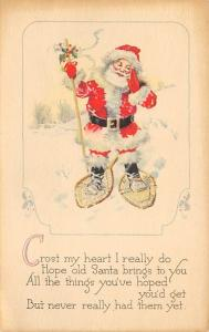 Santa Claus Post Card Old Vintage Antique Christmas Postcard Writing on back