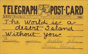 Tellegraph Postcard Sent 24 November 1909