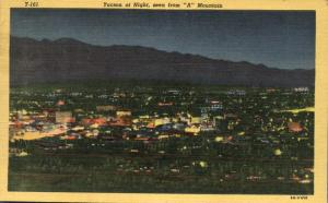 Aerial View at Night - Tucson AZ, Arizona - pm 1952 - Linen