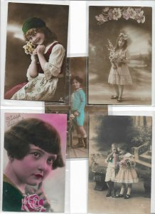 Kids Theme With Flowers RPPC Postcard Lot of 10 01.11