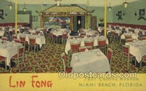 Miami Beach, FL USA Lin Fong Old Vintage Antique Postcard Post Cards  Lin Fon...