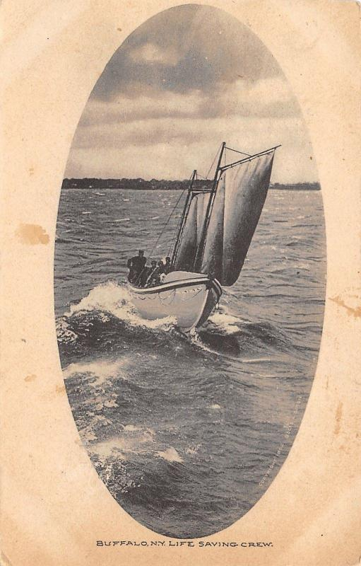 Buffalo New York~Life Saving Crew~Boat in Action~Oval Inset~1909 B&W Postcard