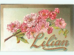 c1910 Lillian Lilian NAME IN BIG LETTERS WITH FLOWERS AC5086