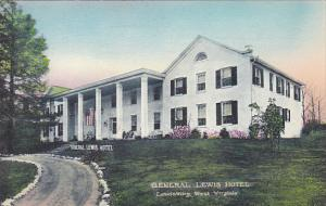 West Virginia Lewisburg General Lewis Hotel Handcolored Albertype