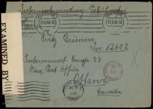 Germany WWII Internierten Internee POW Ottawa Canada Cover 80900