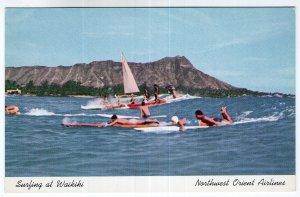 Surfing at Waikiki - Northwest Orient Airlines