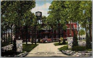 1940s Springfield, Missouri Postcard Admin. Bldg. CENTRAL BIBLE INSTITUTE Linen