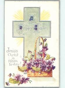 Pre-Linen easter religious VIOLET FLOWERS IN WICKER BASKET & JESUS CROSS hr2416