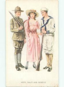 Pre-Linen Military signed ARMY & NAVY MEN WITH PRETTY GIRL AC6039