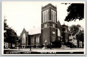 Beaver Dam Wisconsin~Saint Stephens Church~Neighborhood Block~Homes~1940s RPPC