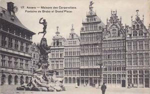 Belgium Anvers Maison des Corporations Fontaine de Brabo et Grand' Place